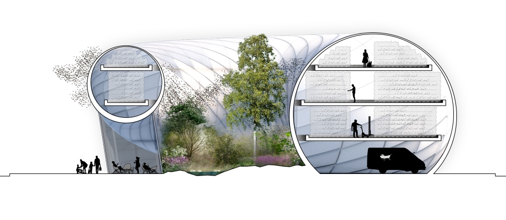 Ett tvärsnitt av buzzbuilding. Credit: Belatchev Arkitekter AB 2014