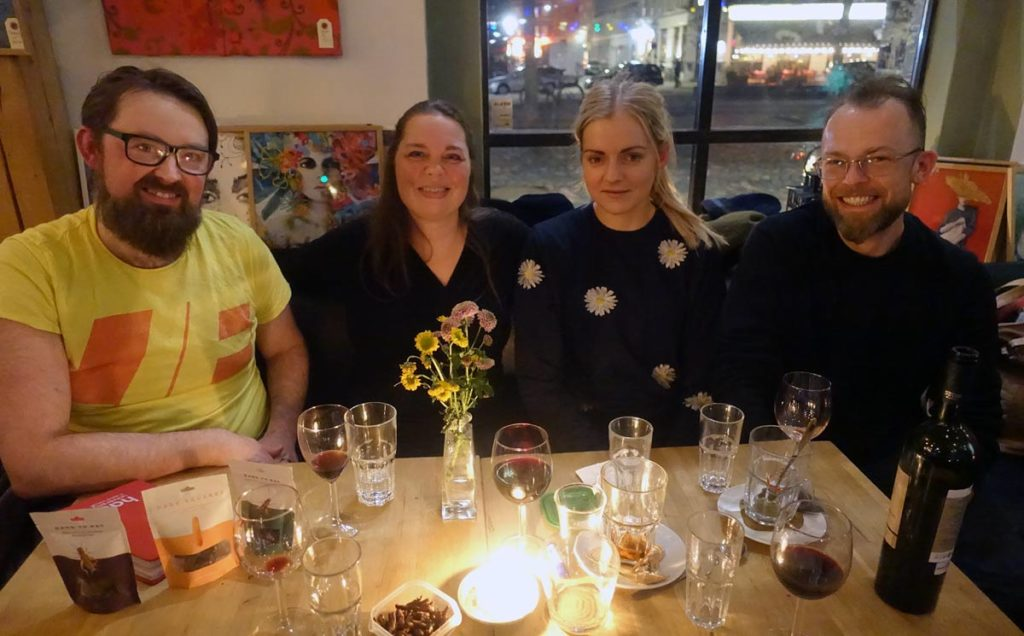 From the left: me, Nina Askov (Buglady.dk), Malena Sigurgeirsdottir (wholifoods.com) and Kamil Lewinski (ento.nu)