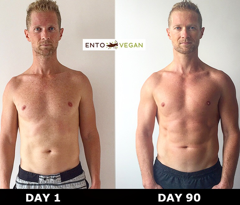 Josh Galt doing his 90 day strict ento vegan diet with training. (Photo: Josh Galt, Entovegan.com)