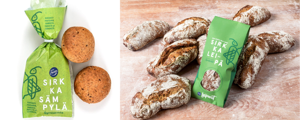 "Fazers cricket bread. To the left its newest product called ""syrssemla"" in Swedish. (photo: Fazer)"