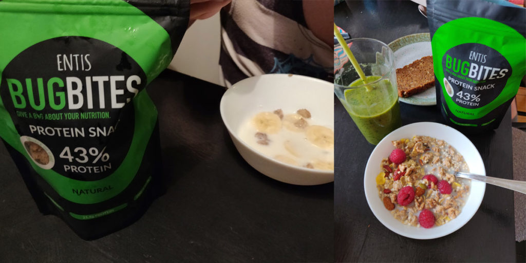 My daughter really enjoyed Bugbites with milk and bananas. On the right my breakfast bowl and smoothie.